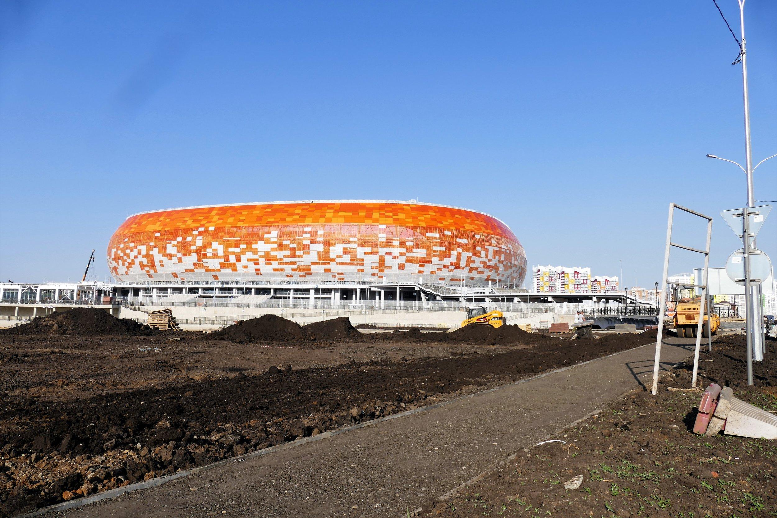 Le stade, comme un soufflé démesuré, construit tout spécialement pour la coupe du monde 2018.