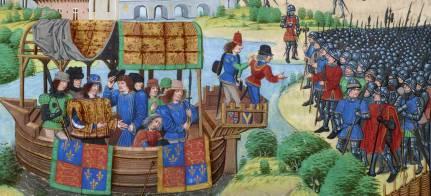 Miniature d'une copie des Chroniques de Froissart  :  Richard II rencontre les rebelles le 13 juin 1381  (® Historia Games)