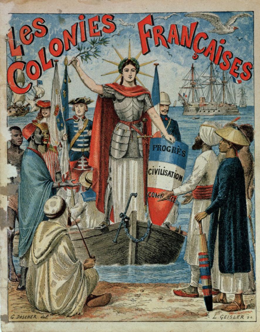 """Vous auriez cru que la devise de la France des colonies était """"Liberté, égalité, fraternité"""" ? Erreur. C'était """"Progrès, civilisation, commerce""""."""