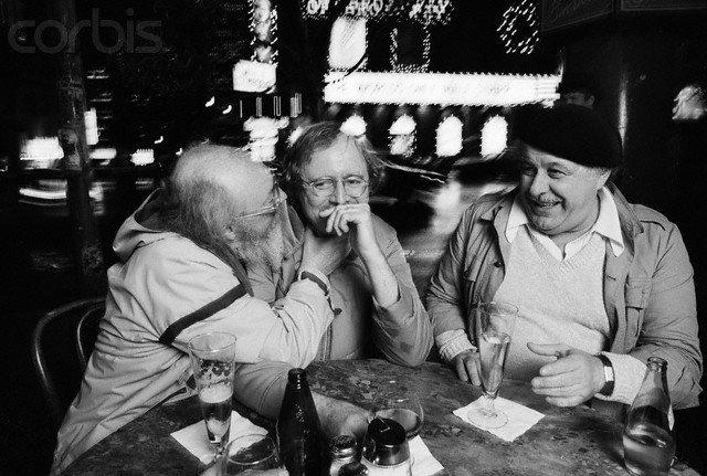 Don Carpenter, Richard Brautigan and Enrico Banducci, Enrico's Cafe, 1981. By Roger Ressmeyer.
