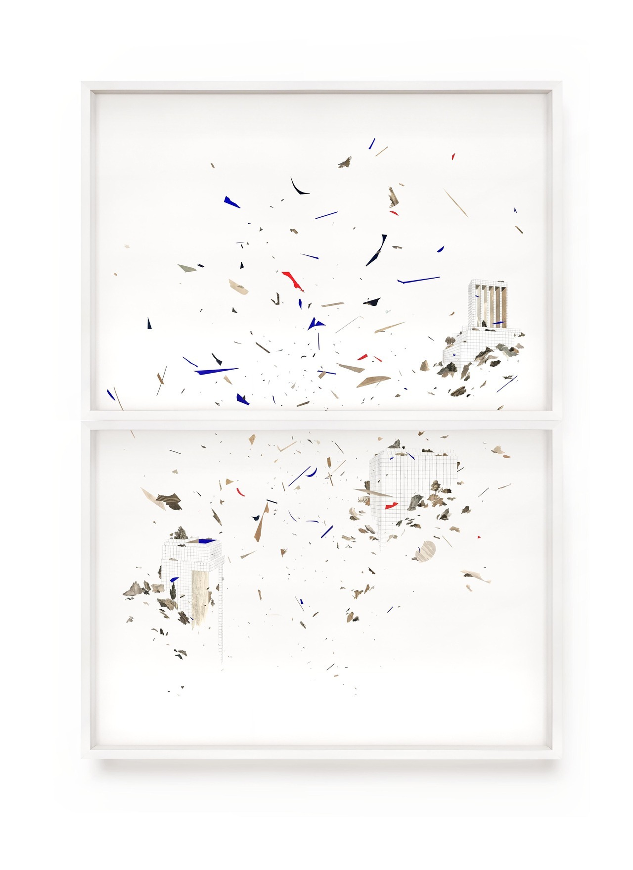 Claire Trotignon   Hyperpianos  Drawing, collage of engraving 100 x 140 cm diptyque - 2018 - Private collection