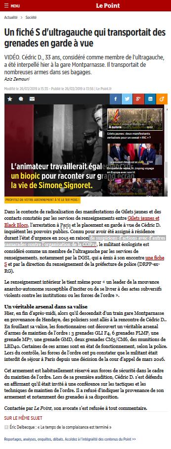 L'article a été retiré par Le Point, mais on peut le retrouver    ici, grâce à Web.archive.og