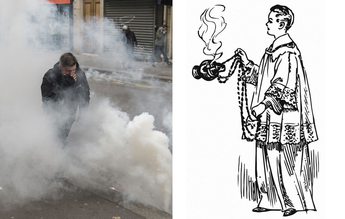 """Macron, saint-patron du multitask. Il encense, enfume et gaze la France """"en même temps""""."""