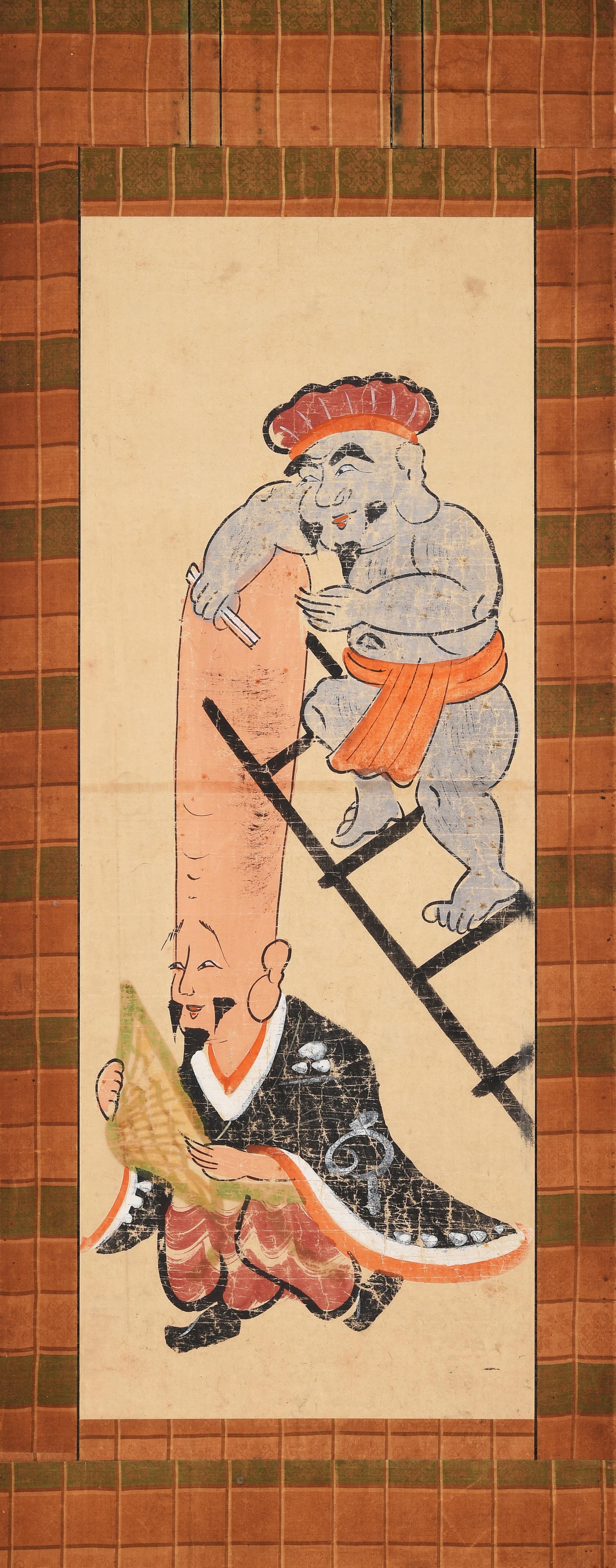 Le dieu de la Fortune rasant le dieu de la Longévité sur une échelle XVIIIe siècle, peinture d'Ôtsu collection particulière, dépôt à l'Ôtsu City Museum of History, Japon.