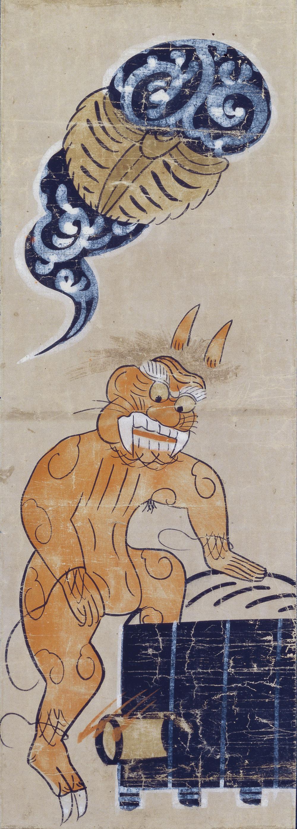 Démon au bain XVIIe siècle, peinture d'Ôtsu The Japan Folk Crafts Museum, Tokyo
