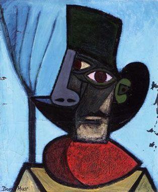 Dora Maar  -  Portrait de Pablo Picasso au chapeau noir 1935  Huile sur toile - 61 x 50 cm