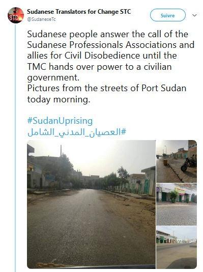 Photos des rues de Port Soudan ce matin.#SudanUprising#العصيان_المدني_الشامل pic.pic.twitter.com/Of1ENHfYqD  - Traducteurs soudanais pour le changement STC (@SudaneseTc) 9 juin 2019