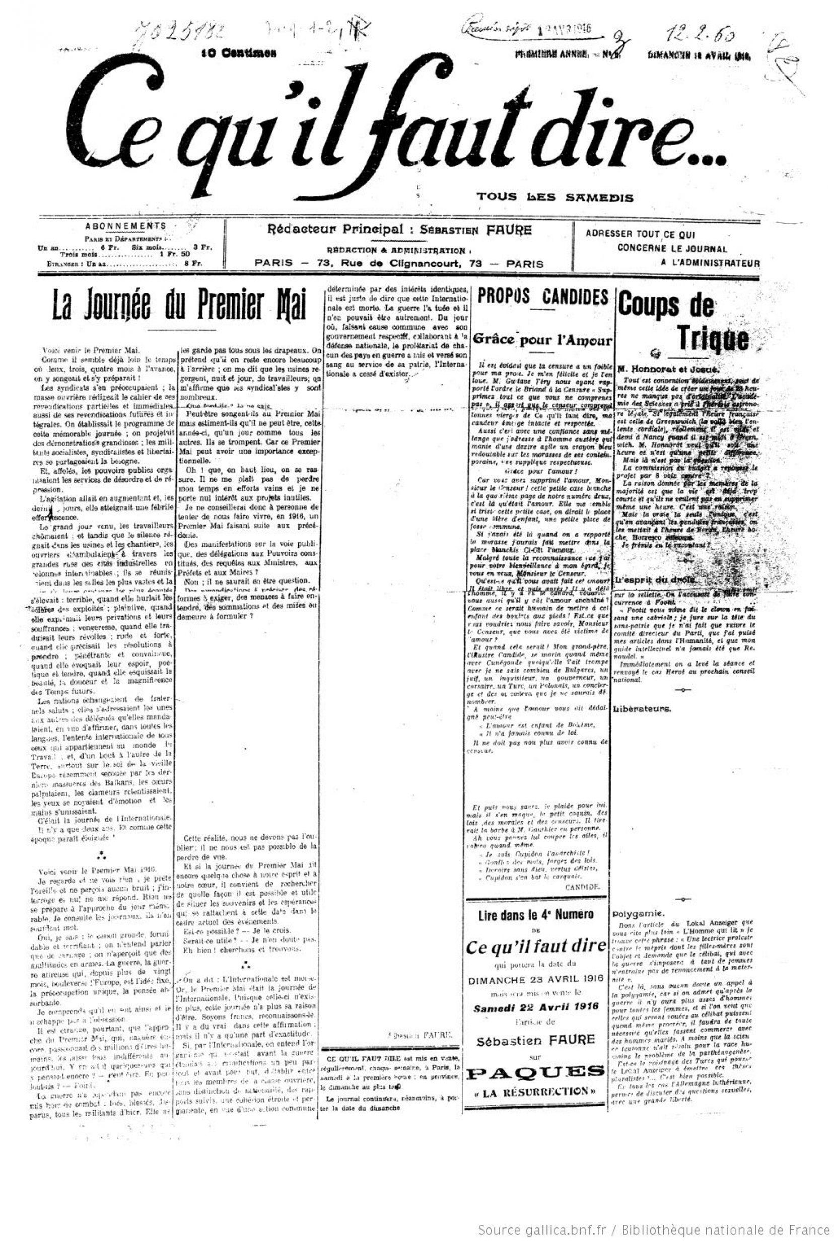 """Censure dans le journal anarchiste """"Ce qu'il faut dire"""" du 18 avril 1916"""