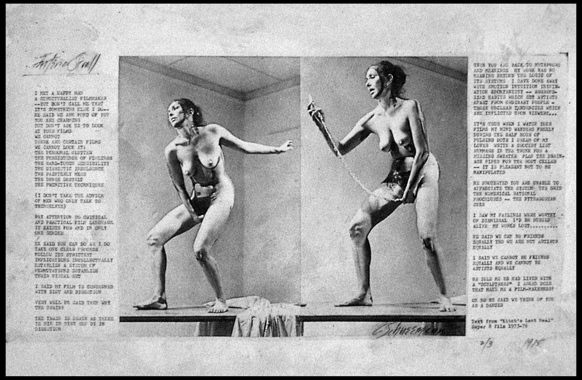 Carolee Schneemann,  The Men Cooperate, 1979   Photos sérigraphiées sur papier — 77 × 108 cm Crédit photographique : Charles Duprat