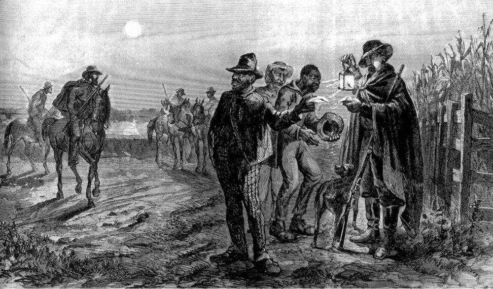 The Slave Patrol en action. Les cartes d'esclaves ont été les précurseurs des formes ultérieures d'identification photographique et biométrique - le passeport original