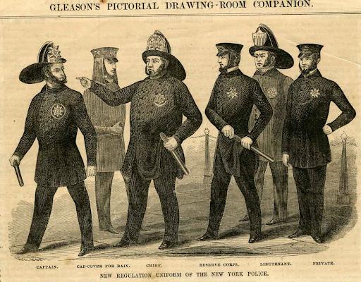 Les premiers uniformes de la police de New York. 1854
