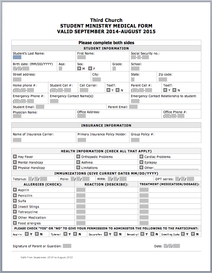 Click to Download the Medical Release Form