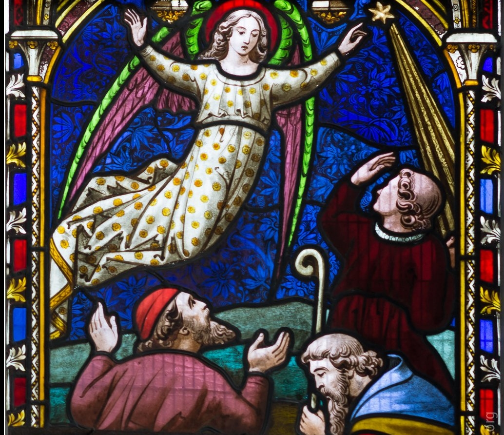 Detail from stained glass in the chancel window, St Mary, Adderbury;image courtesy Howard Stanbury