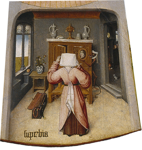 SUPERBIA (PRIDE)  , DETAIL FROM THE TABLE OF THE MORTAL SINS AND THE FOUR LAST THINGS BY HIERONYMUS BOSCH.