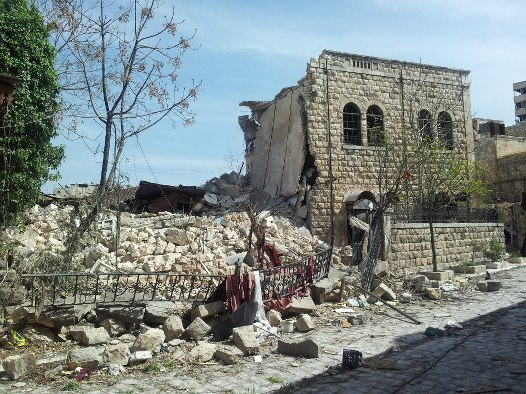 Aleppo Presbyterian Church in 2012, after the bombing.