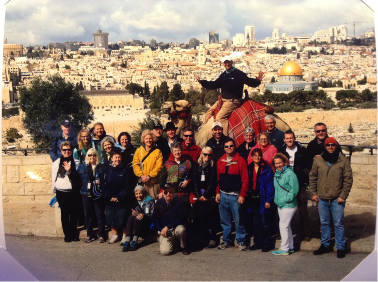 The team in 2014 overlooking Jerusalem