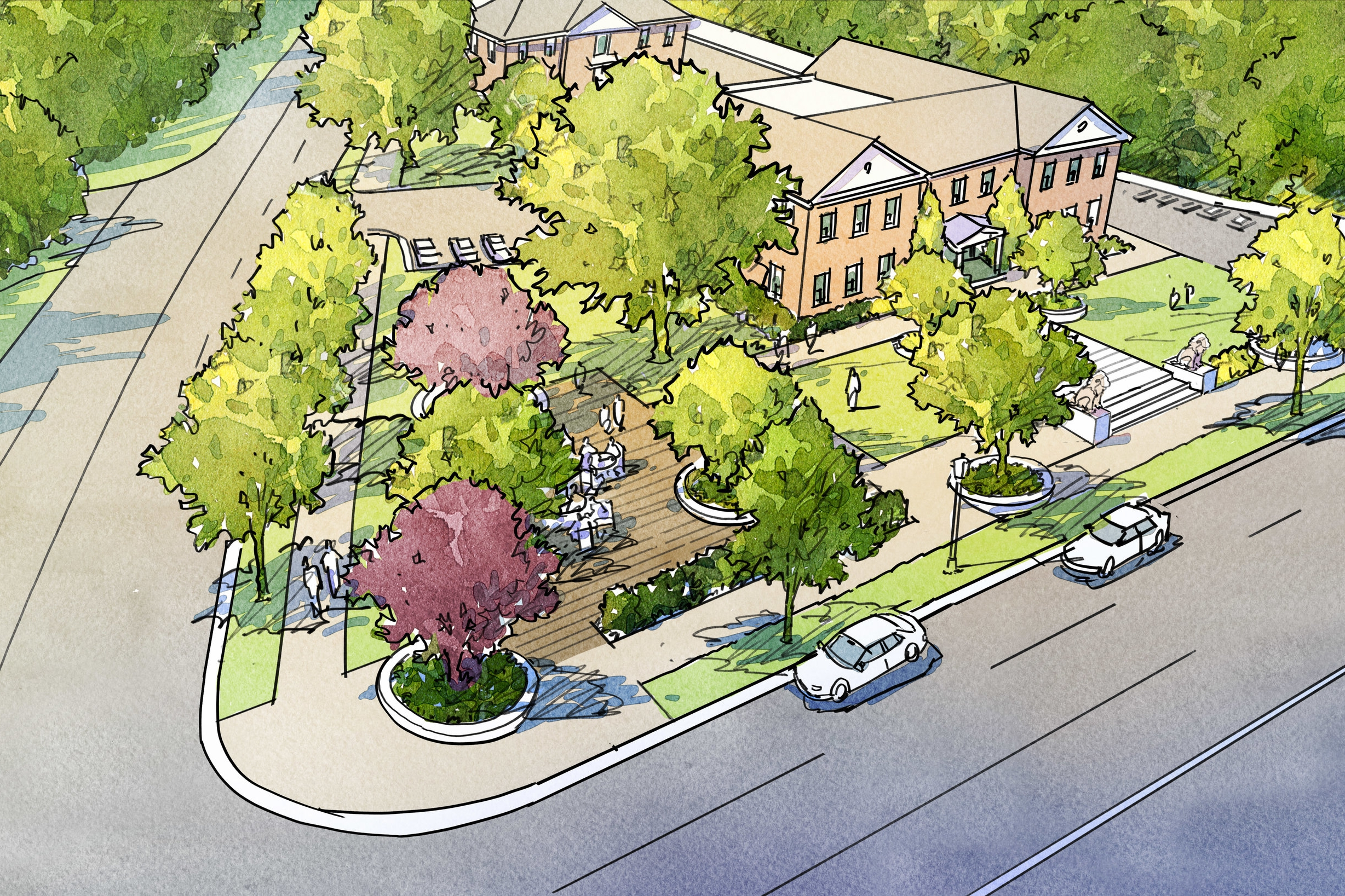 View of proposed plaza in front of Third Church's office building at the corner of Forest and Ridge Avenues. (Click for full size image.)