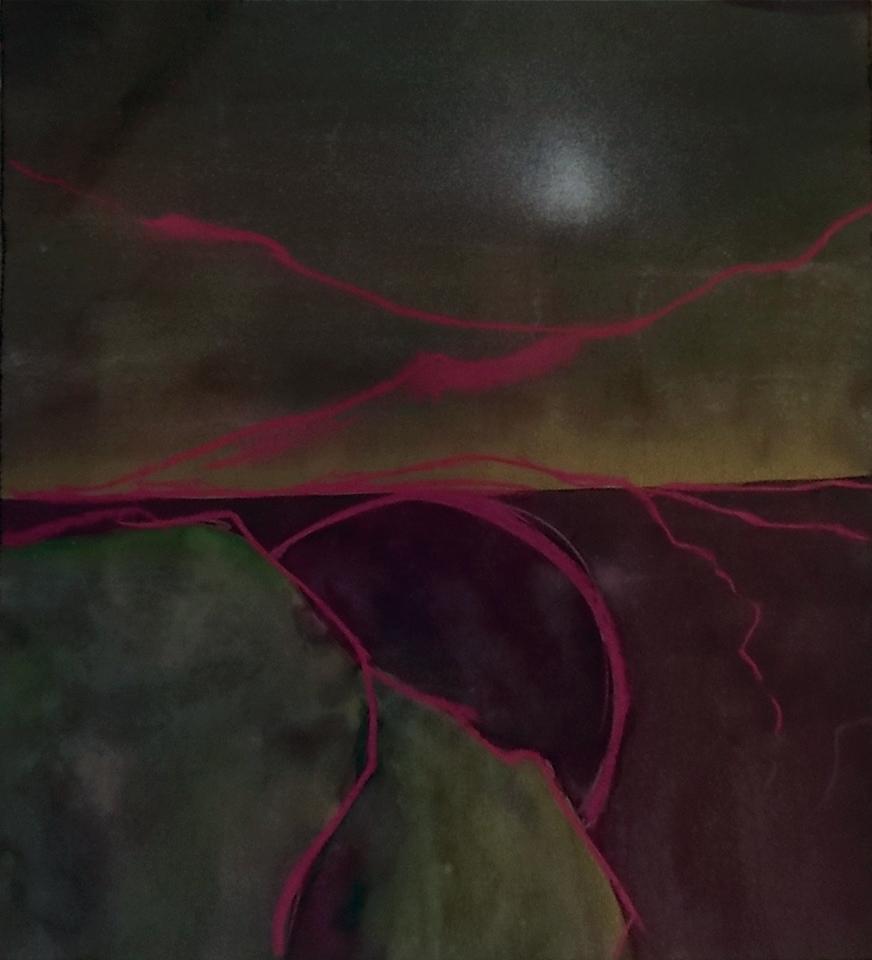 "jethro    pastel, gold paint, watercolor on black paper  12 7/8"" x 12 7/8"""
