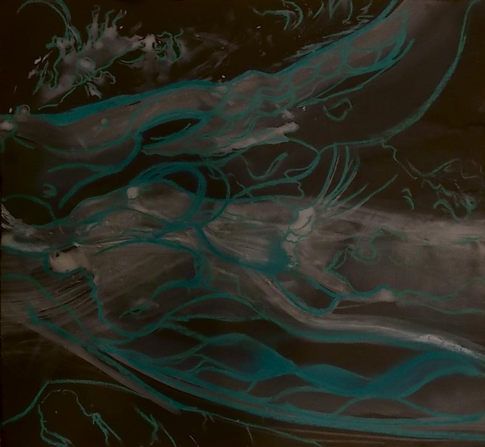 "wings    pastel, watercolor on black paper  13 7/8"" x 12 7/8"""