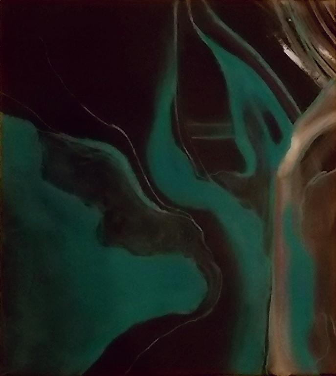 "wings #2    pastel & watercolor on black pape  12 1/2"" x 13 3/4"""