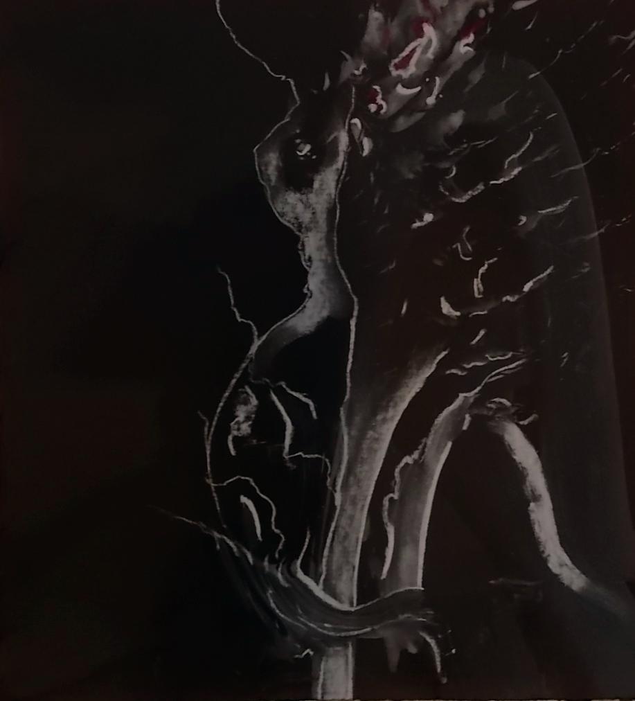 "wings #5    pastel & watercolor on black pape  12 5/8"" x 14"""
