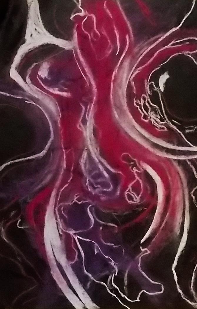 sorrows            pastel on black paper