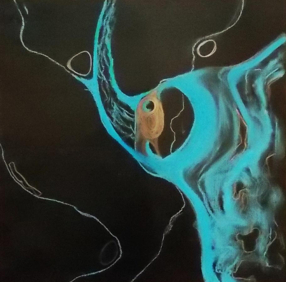 deep uncertainty    pastel & graphite on black paper
