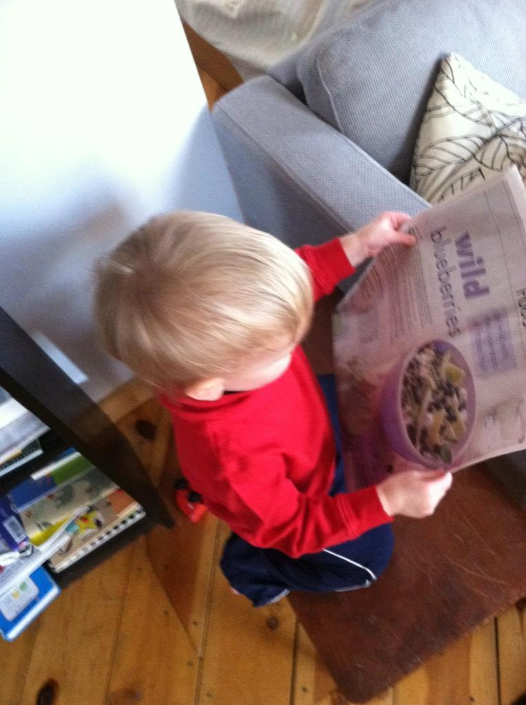 Unrelated picture of Benny reading blueberry recipes in AgriNews.