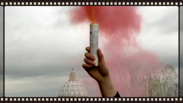 A young woman raises Pink Smoke over the Vatican signaling her hope for an inclusive Church.