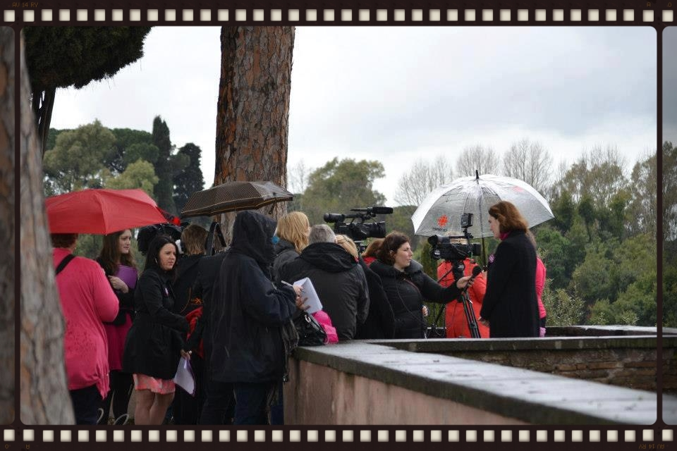 Members of the International Press interviewing advocates for women's ordination just after the Pink Smoke vigil.