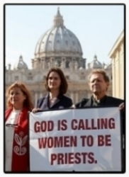 From left to right: Rev. Janice Sevre-Duszynska (RCWP), Miriam Duignan (womenpriests.org), Roy Bourgeois