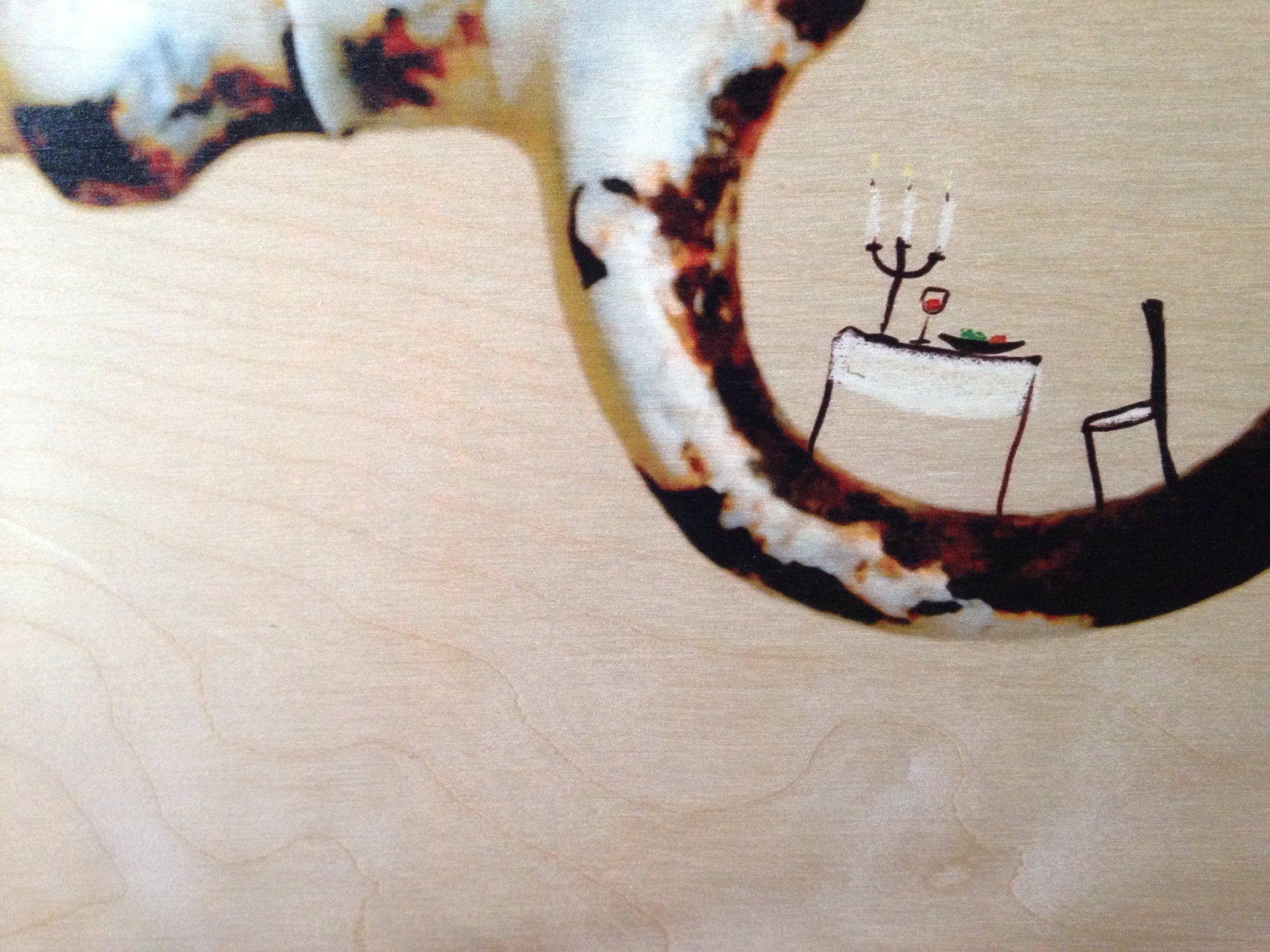 Voorbeeld detail en nerven houtdruk lichte afbeelding