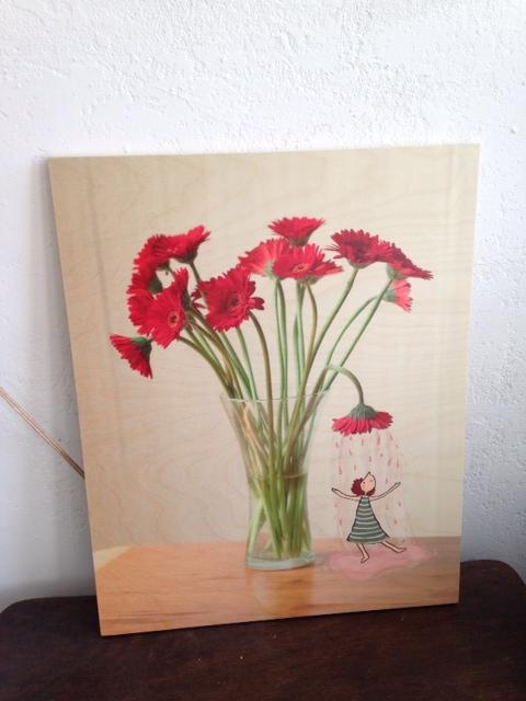 Voorbeeld houtdruk lichte afbeelding 50 x 65 cm