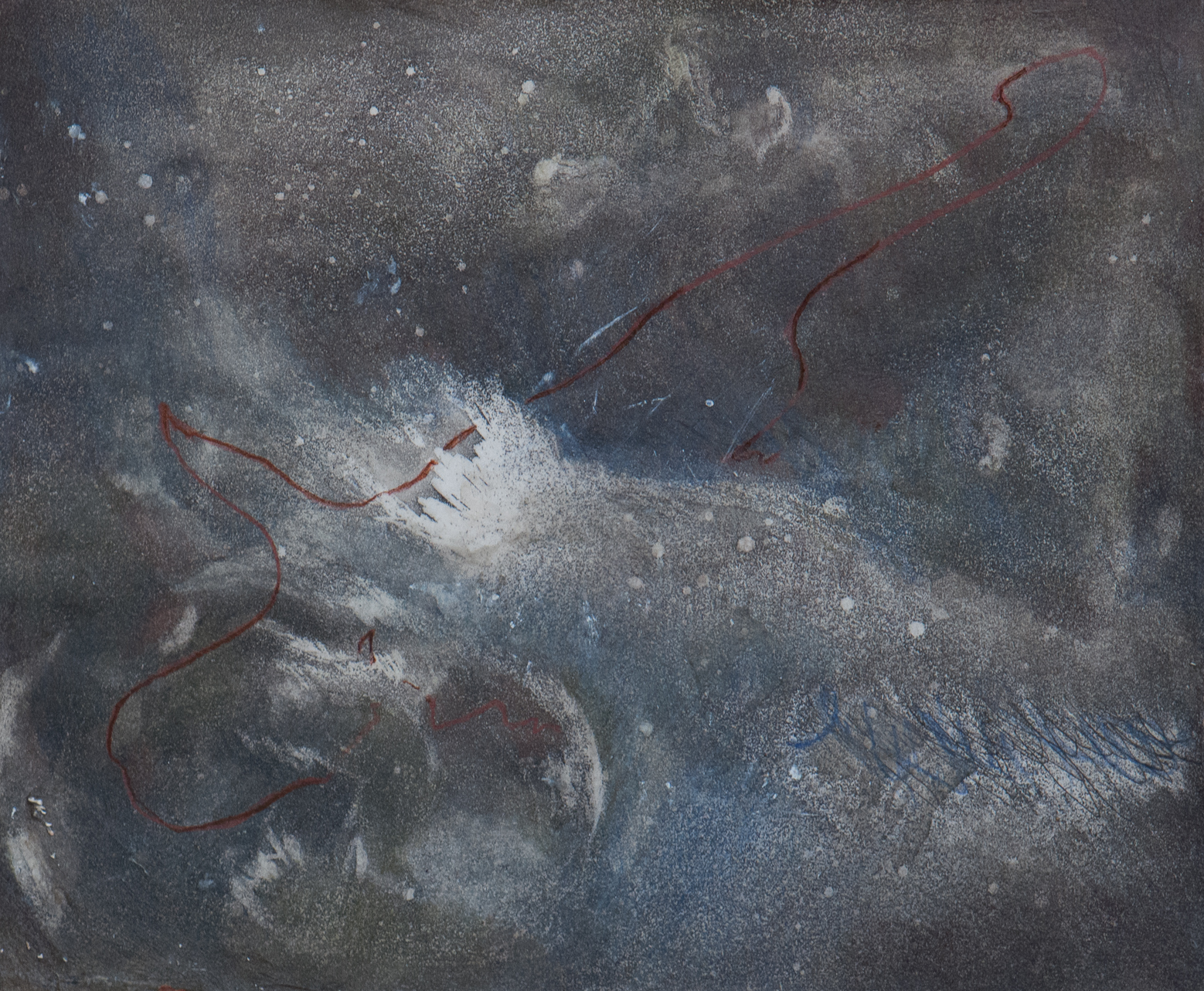 Title:v.3. vitae cyclum stella nebula: a cycle Medium:spraypaint aquatint etching with colored pencil and wax on eastern paper Size (h w d):4 x 7 in
