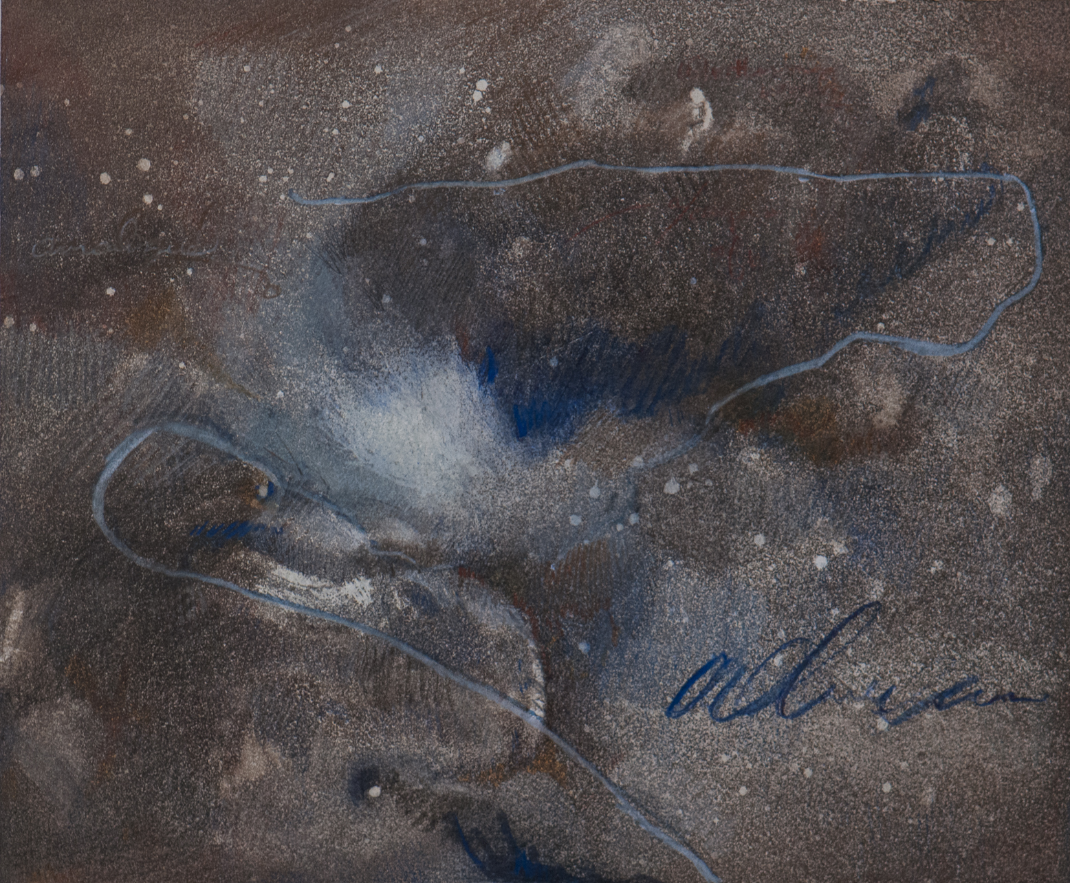 Title:v.2. vitae cyclum stella nebula: a cycle Medium:spraypaint aquatint etching with colored pencil and wax on eastern paper Size (h w d):4.0 x 7.0 in