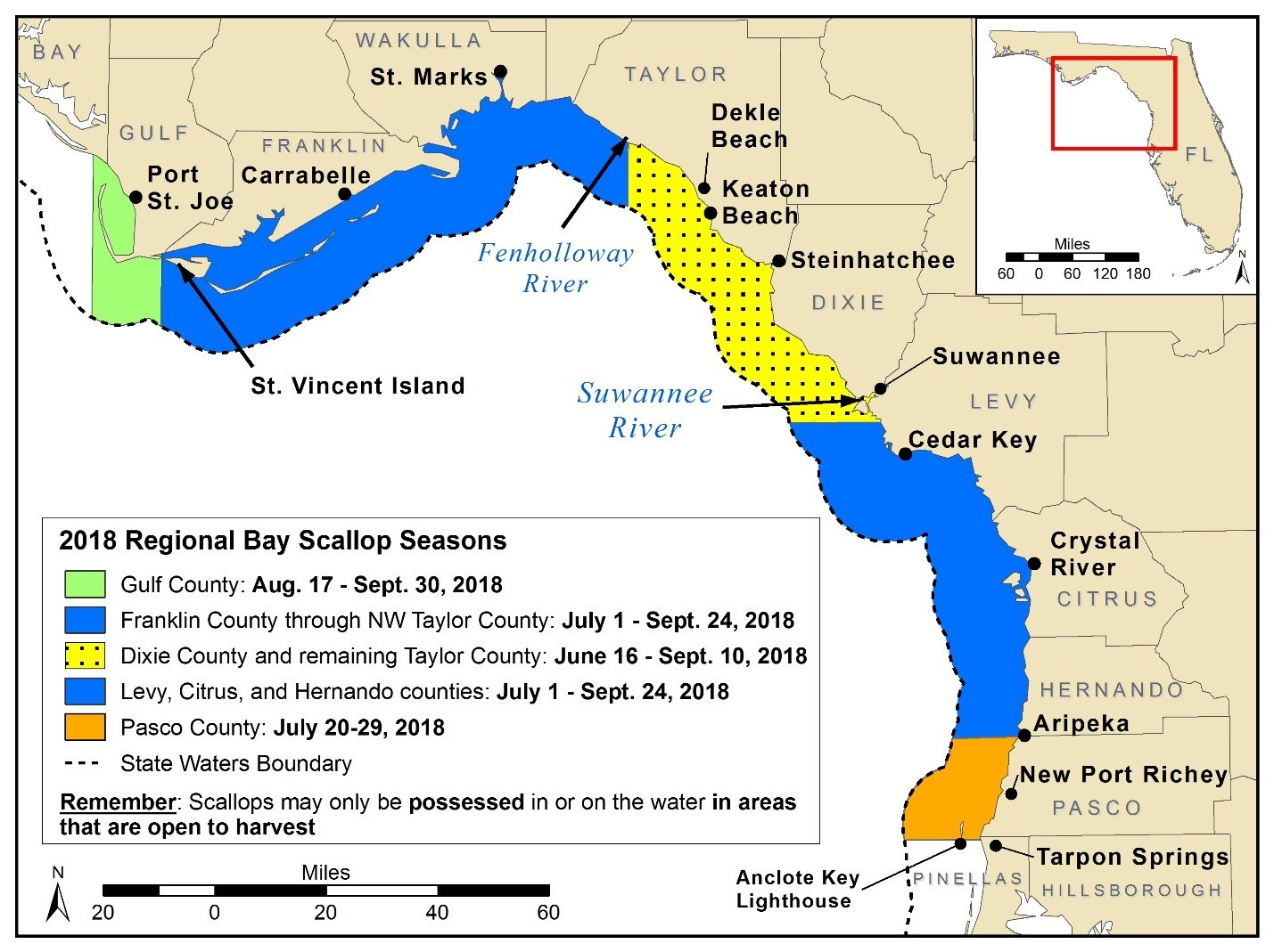 Map and dates for 2018 Scallop Season