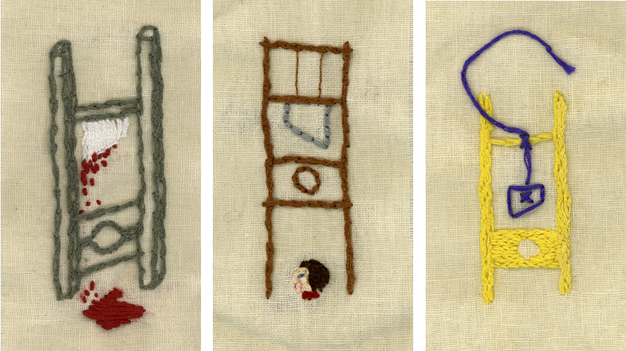 Guillotines,  2x4in each, Embroidery, 2006