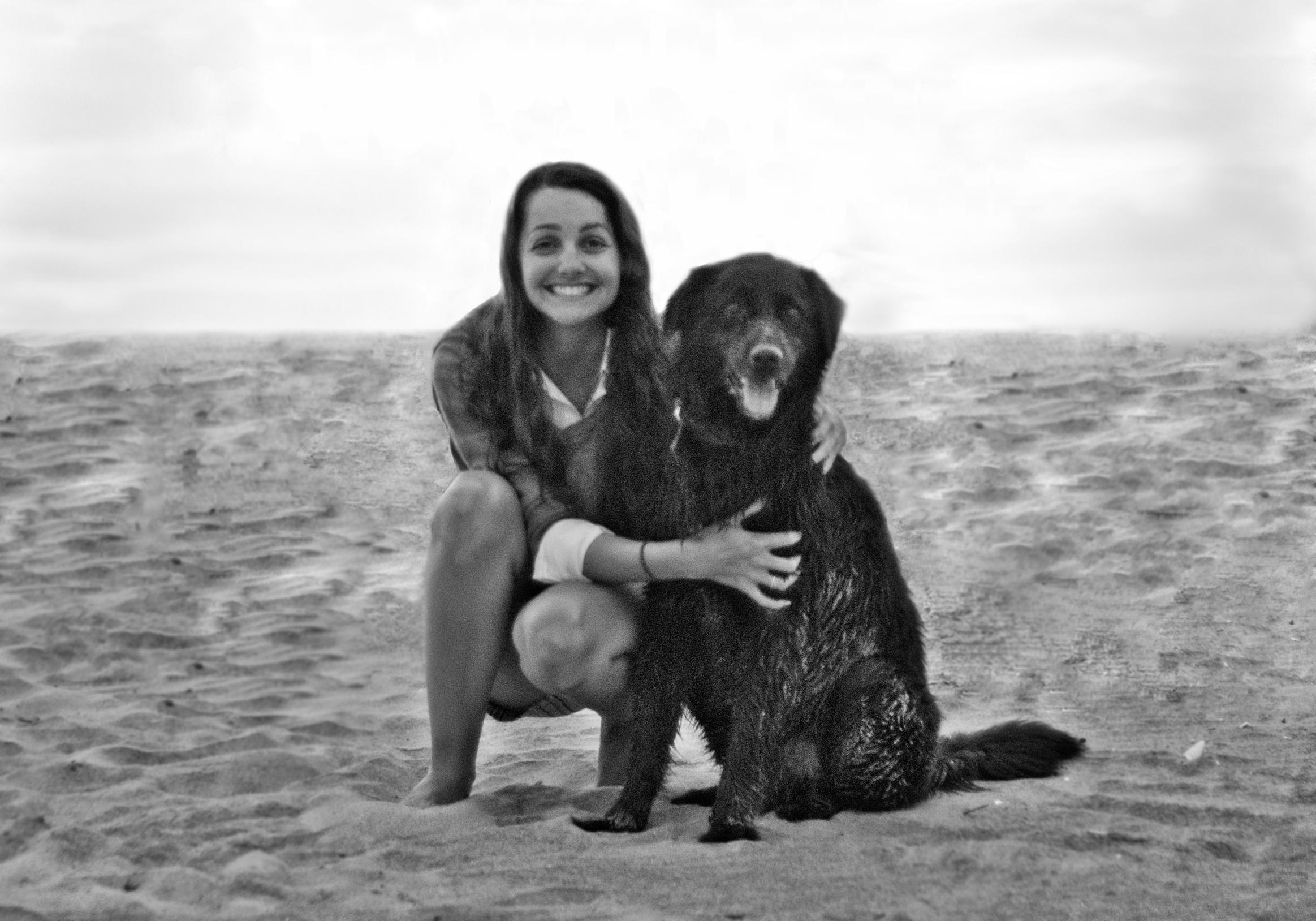 Long Island City Dog Walk LLC Owner, Jenny with her Flat Coated Retriever, Apollo