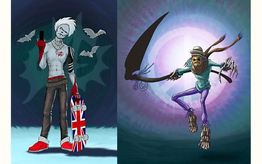 Punker Vampire, Hippie Scarecrow