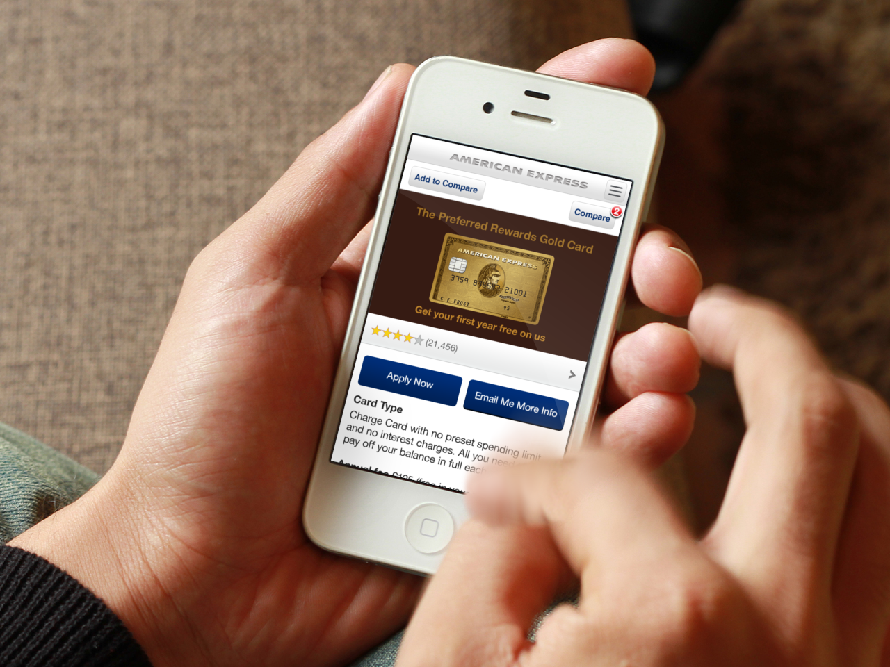 The American Express mobile prospect journey enables potential customers to learn about cards and apply from a mobile device.