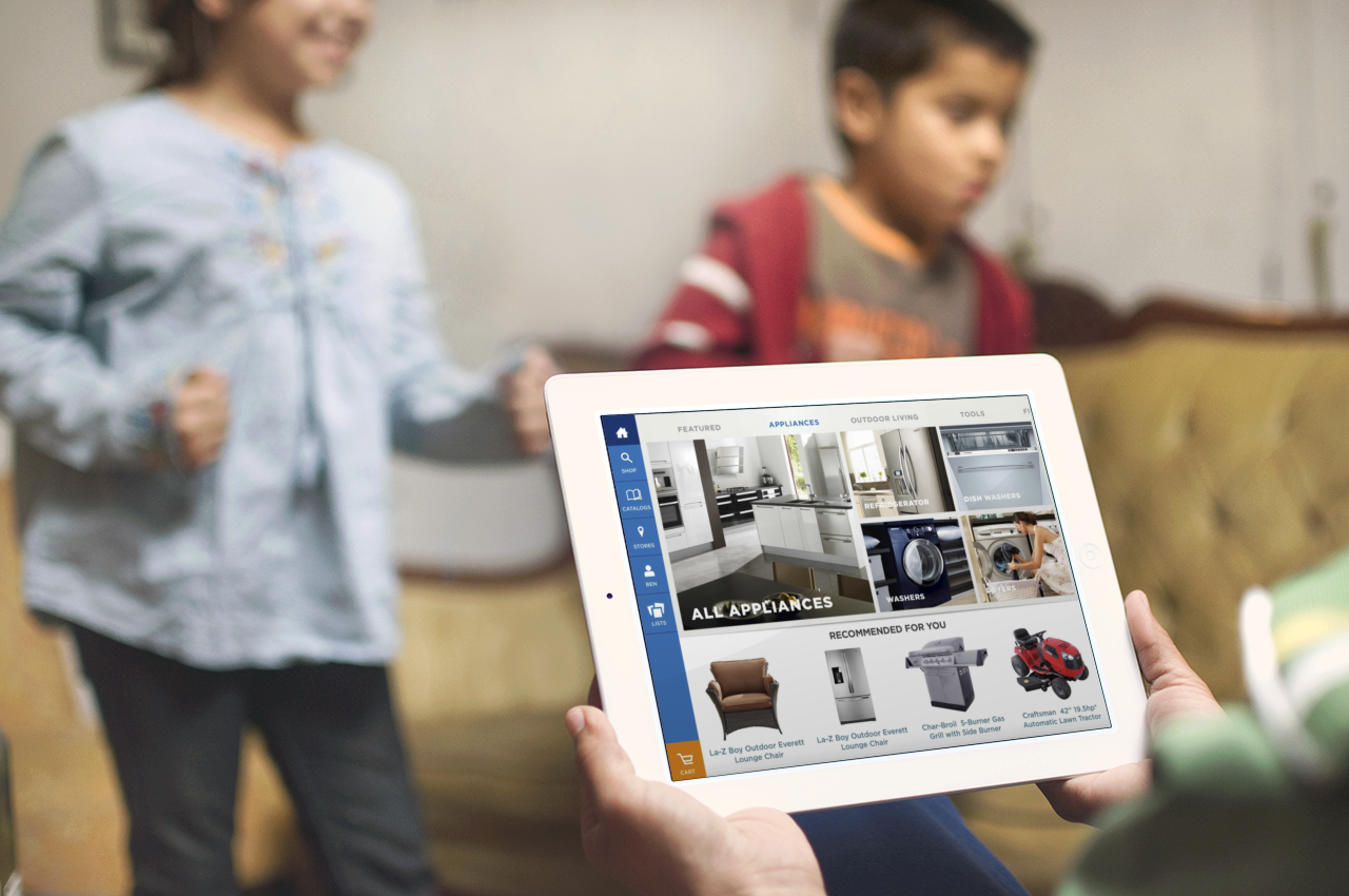 Create iPad app to address business goals of quick product discovery, legacy catalog integration, and socializing shopping.