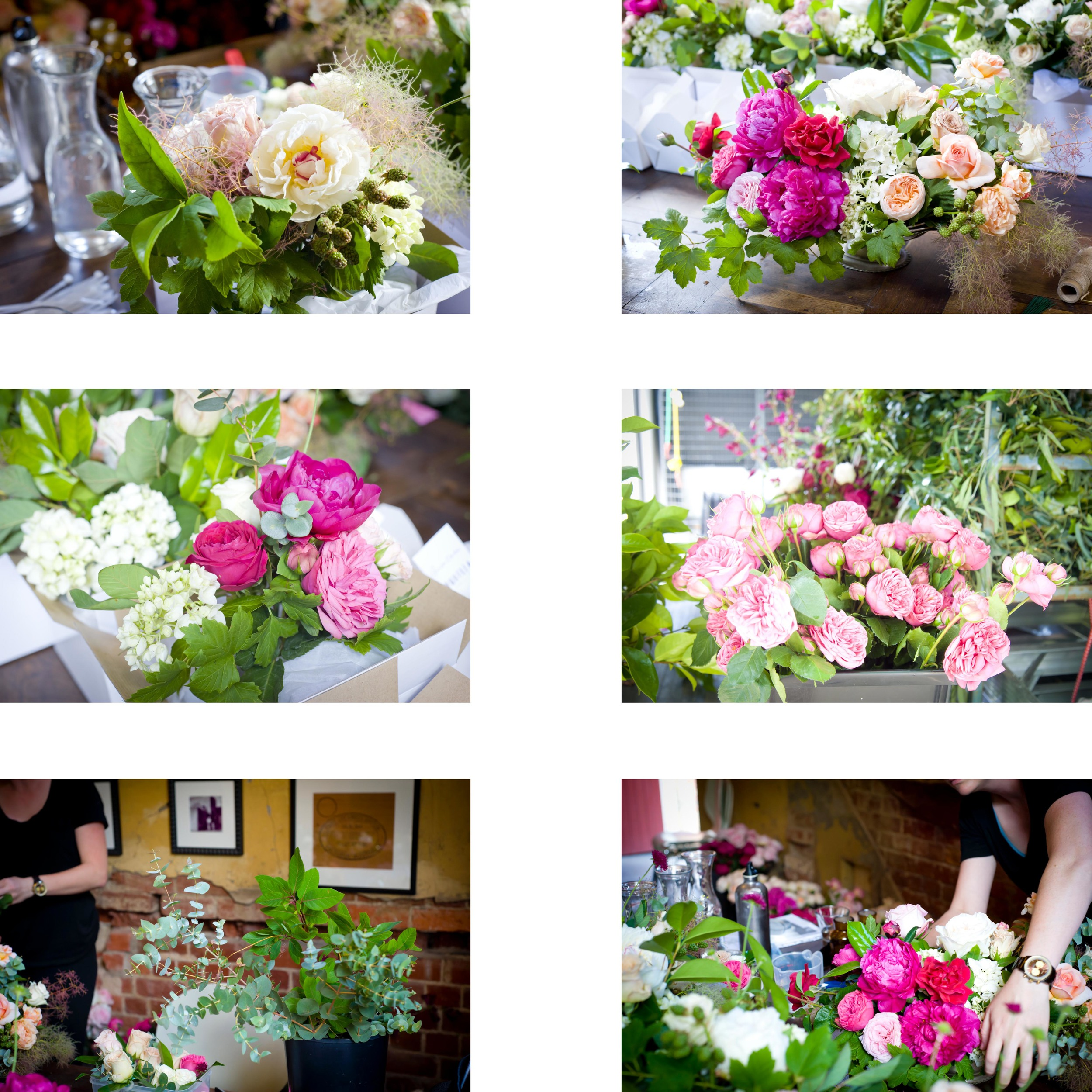 Making the bouquets