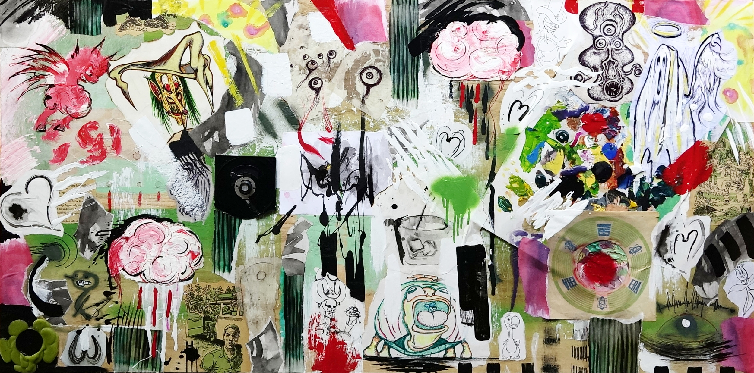 BRAIN RAIN. 48x25. Mixed Media on wood panel