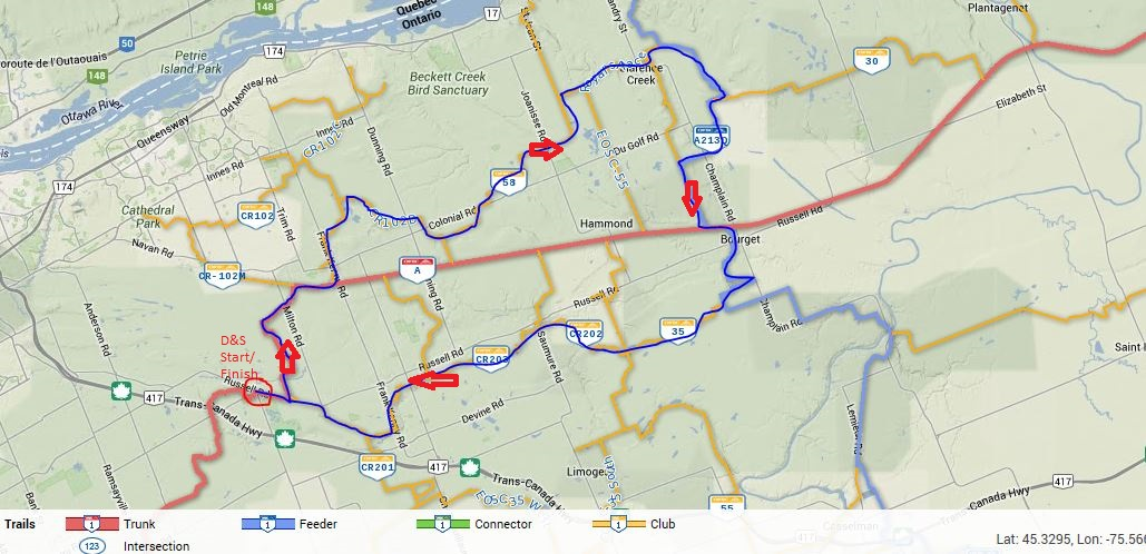 The map of our ride.