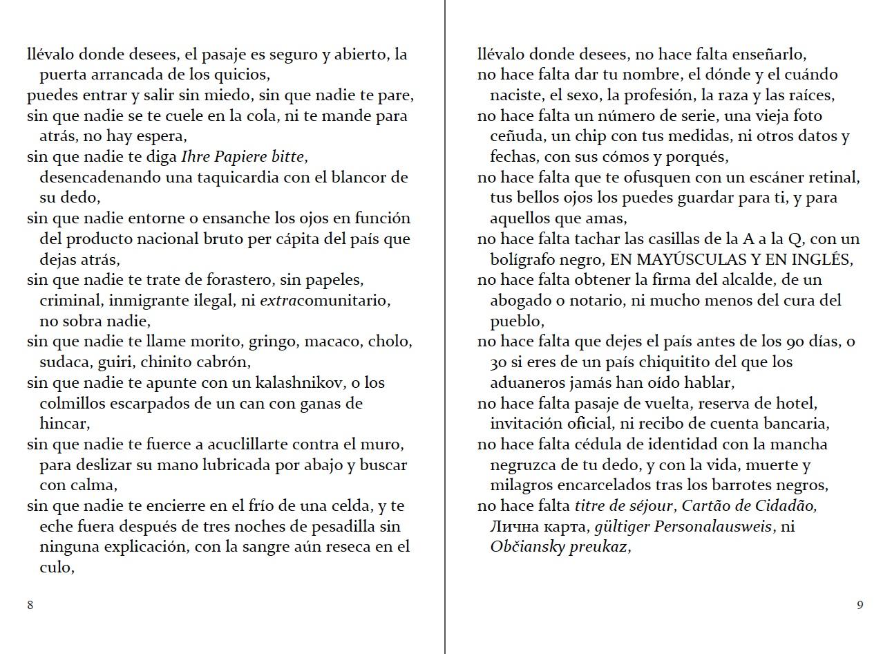 """pp. 8-9 del """"Pasaporte"""" en castellano. Adaptado por Carmen Herrera & Antoine Cassar (2ª edición)."""