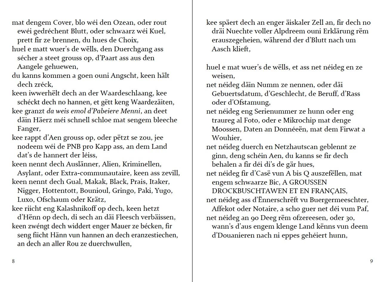 """p. 8-9 of Lëtzebuergesch """"Pass"""". Adapted by Francis Kirps (zweet Editioun)."""