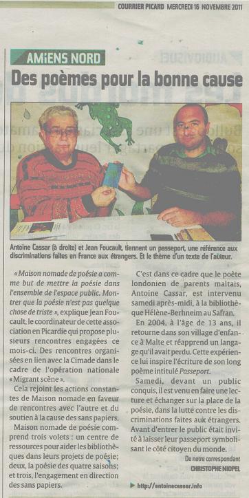 Jean Foucault, Migrant'Scène, Amiens (France), November 2011