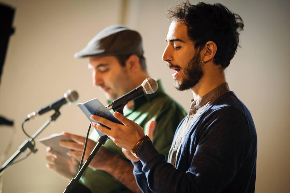 Marco Inguscio reciting the Italian 'Passaporto' with Antoine Cassar. Parlate di luce, Carosino, September 2013.