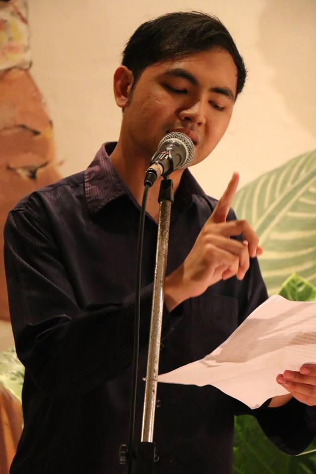 I Kadek Purnawan, reciting a part of the 'Passport' poem in Balinese. Ubud RWF, Indonesia, October 2015