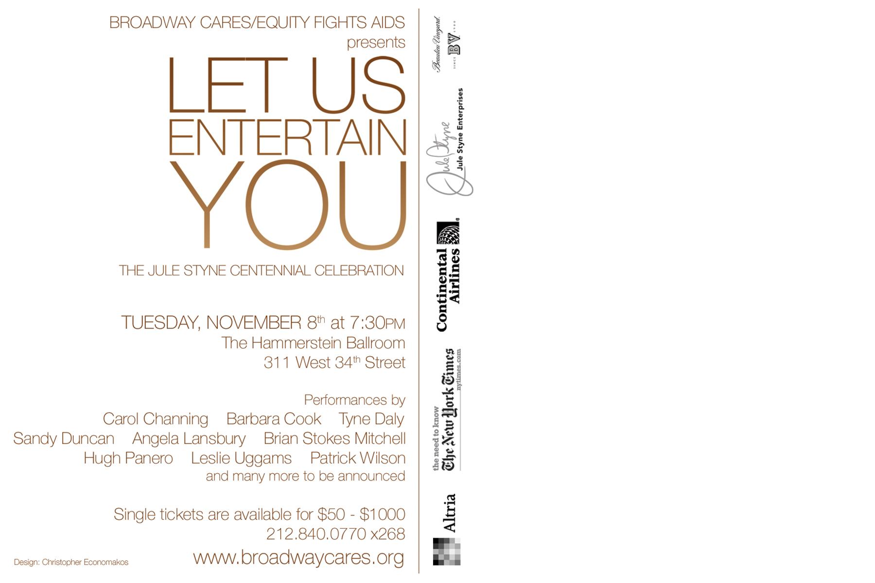Let Us Entertain You Postcard - Back